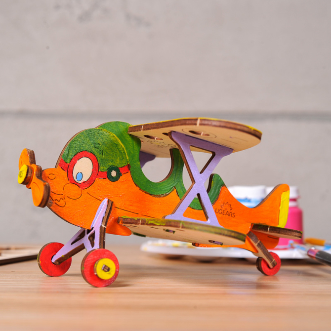 Ugears 4Kids coloring Biplane 1