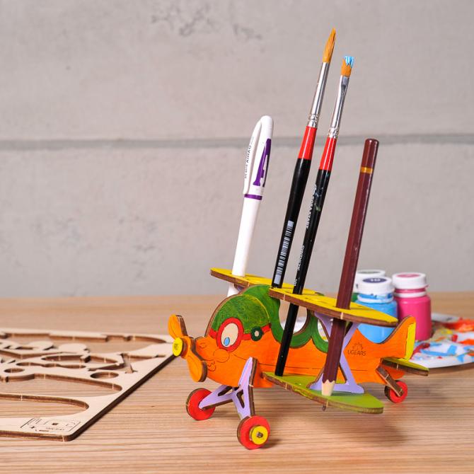 Ugears 4Kids coloring Biplane 2