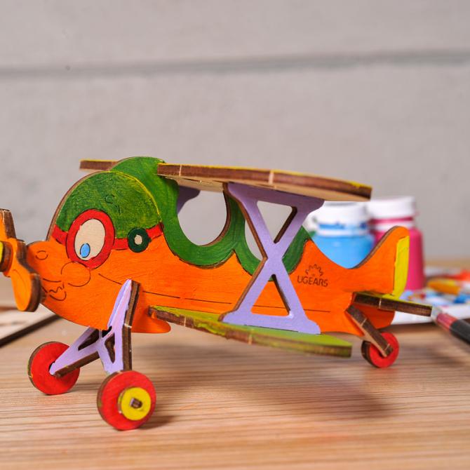 Ugears 4Kids coloring Biplane 4