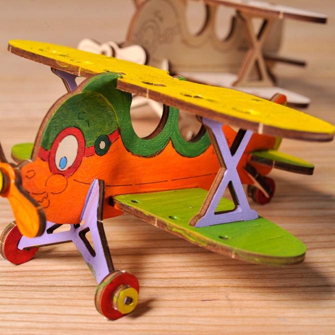 Ugears 4Kids coloring Biplane 7
