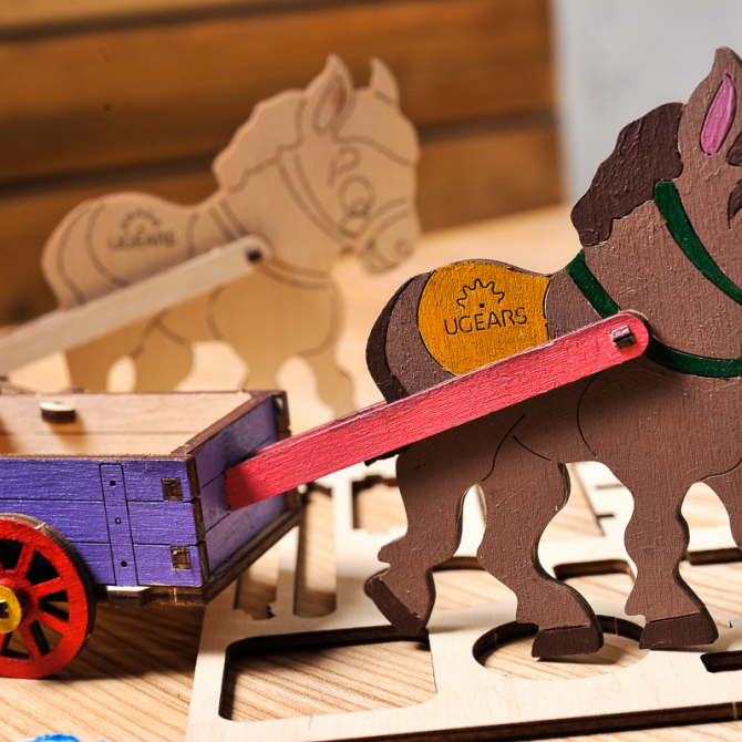 Ugears 4Kids coloring Donkey 1