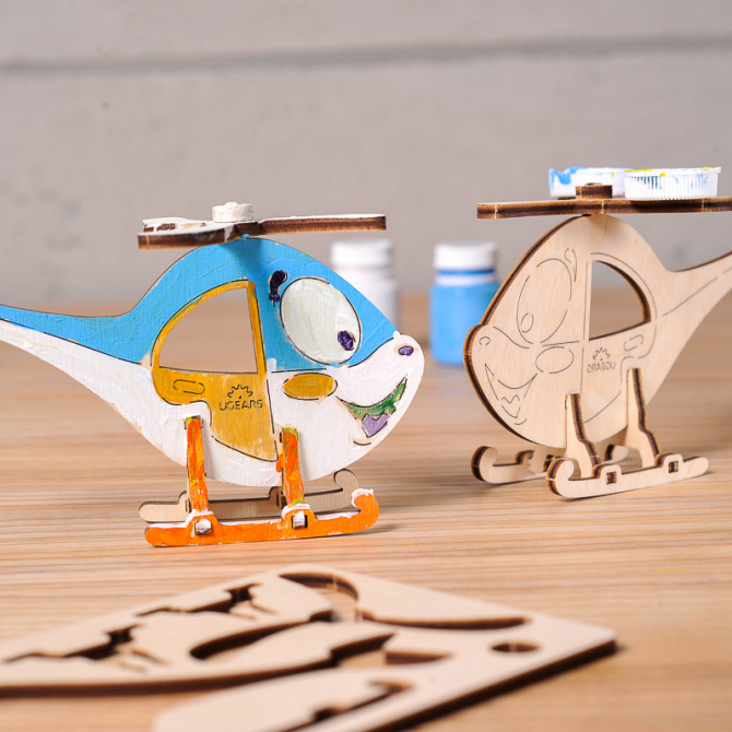 Ugears 4Kids coloring Helicopter 1