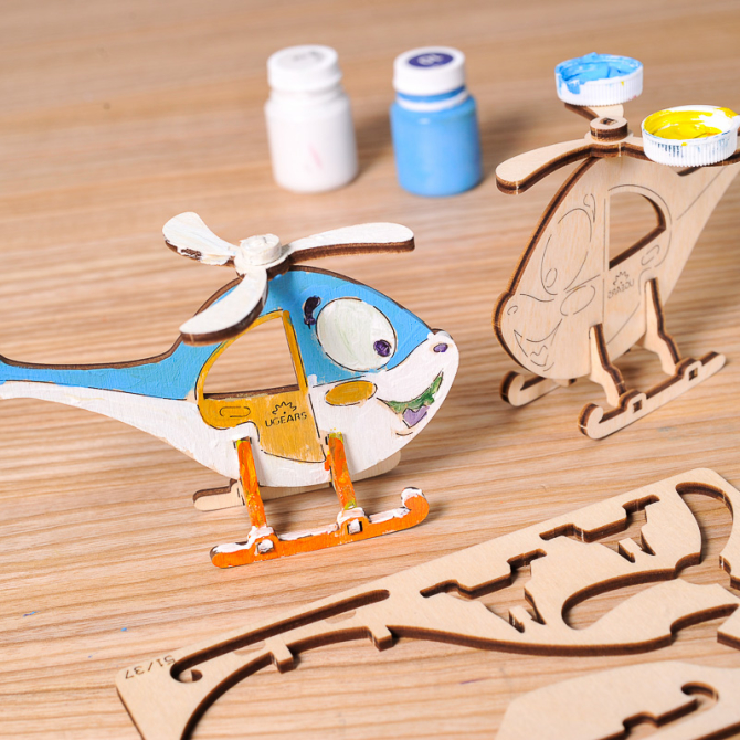 Ugears 4Kids coloring Helicopter 2