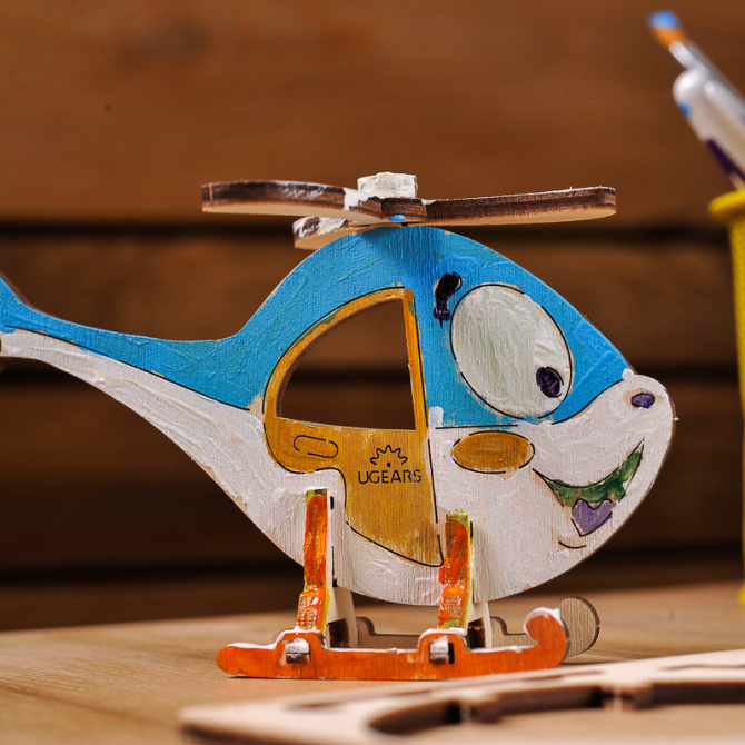 Ugears 4Kids coloring Helicopter 7