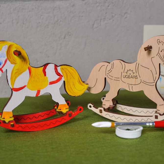 Ugears 4Kids coloring Horse Swing 1