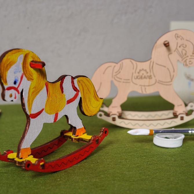 Ugears 4Kids coloring Horse Swing 3