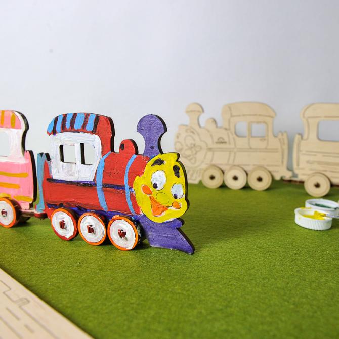 Ugears 4Kids coloring Locomotive 2