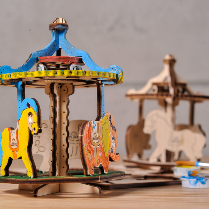 Ugears 4Kids coloring Merry-go-round 1