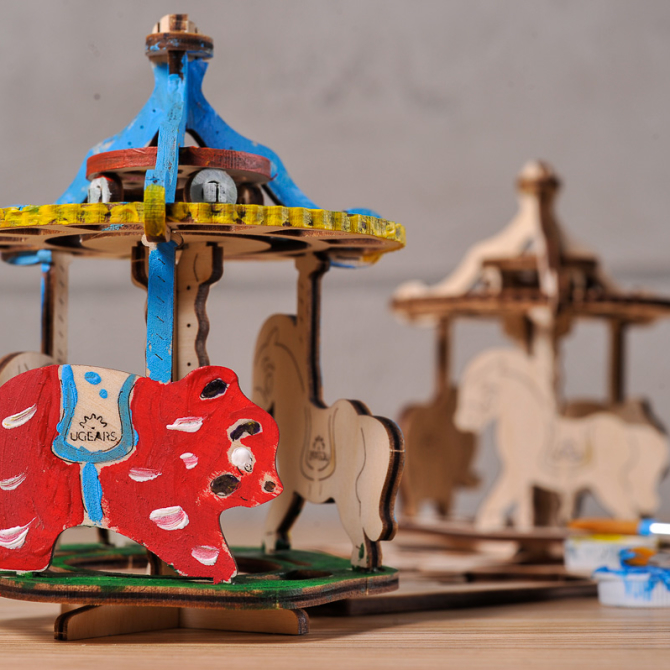 Ugears 4Kids coloring Merry-go-round 2