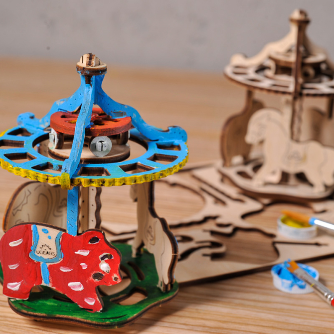 Ugears 4Kids coloring Merry-go-round 3