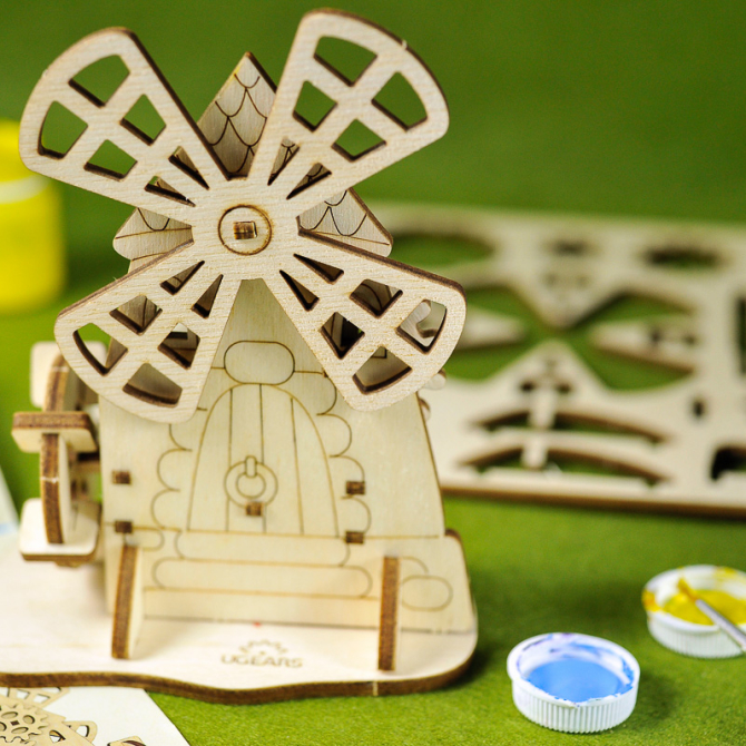 Ugears 4Kids coloring Mill 11