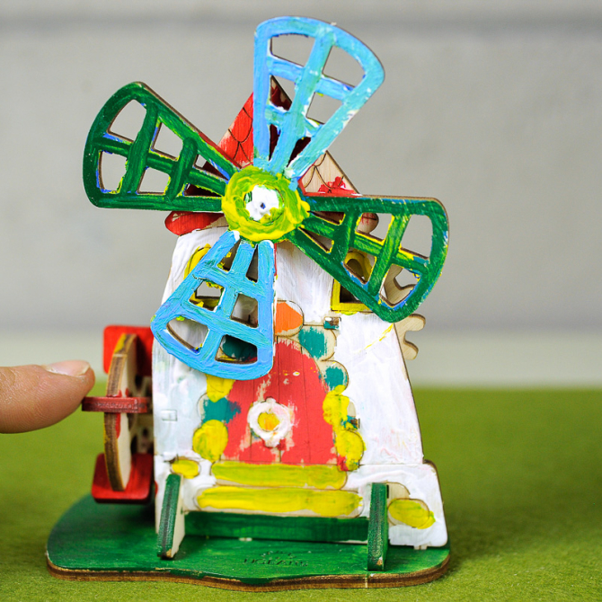 Ugears 4Kids coloring Mill 12