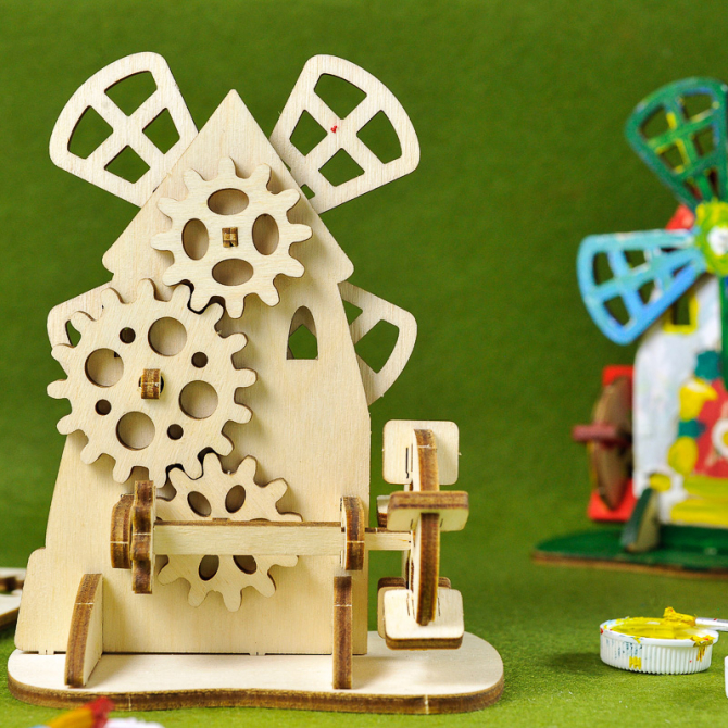 Ugears 4Kids coloring Mill 3