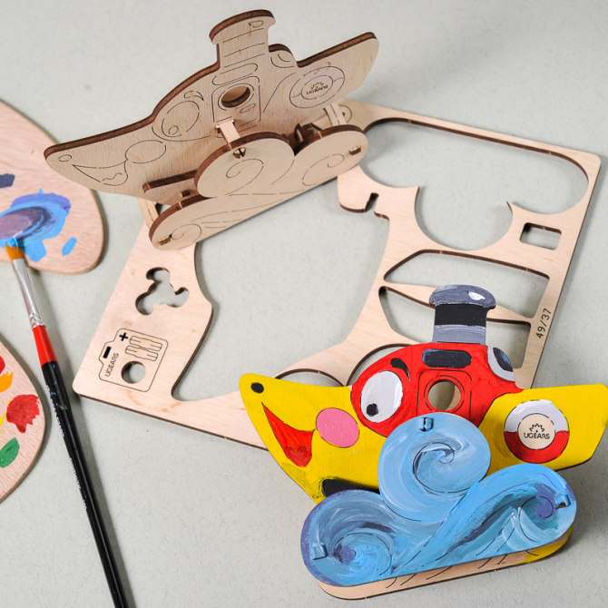 Ugears 4Kids coloring Steamboat 5