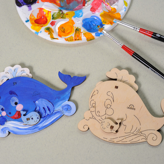 Ugears 4Kids coloring Whale 2